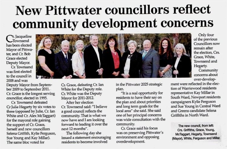 MD New Pittwater councillors reflect community development concerns