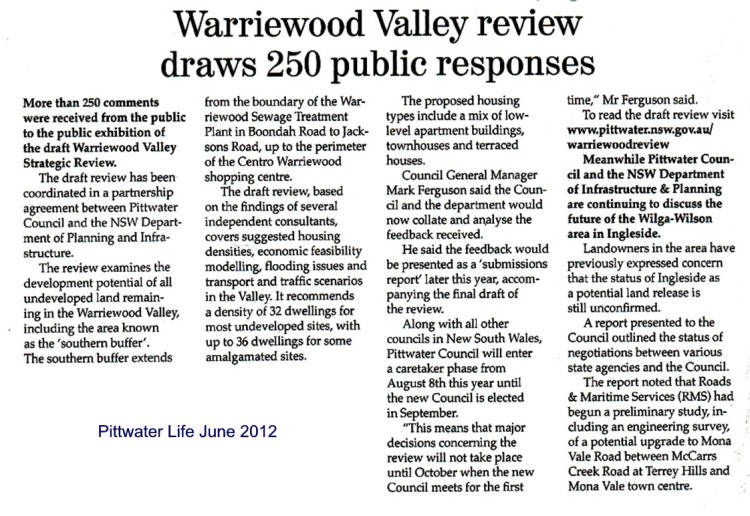 PL Warriewood Valley Review draws 250 public responses